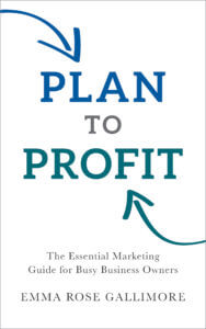 the book cover for Plan to Profit: the essential marketing guide for busy business owners by Emma Rose Gallimore