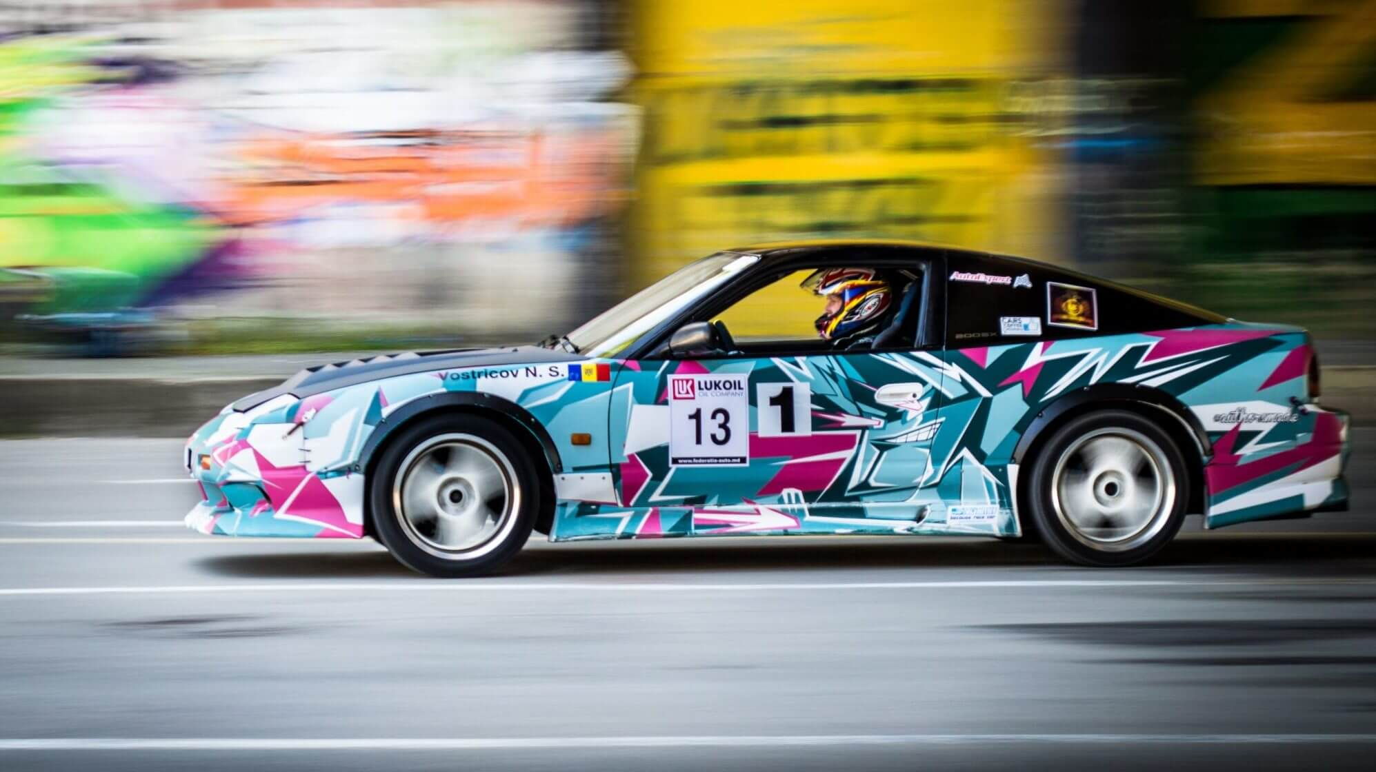 fast car with crazy paint job
