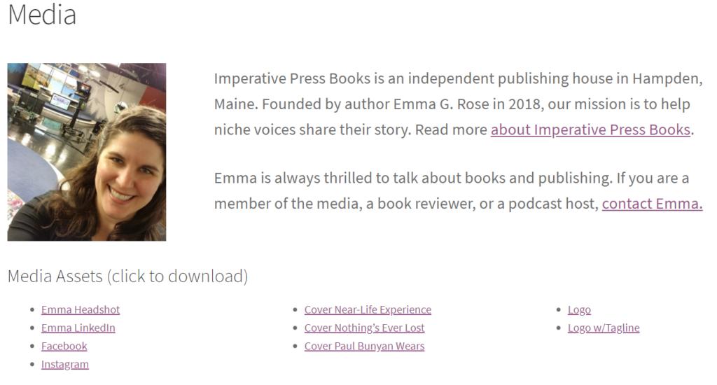 Screenshot of imperativepressbooks.com/media/