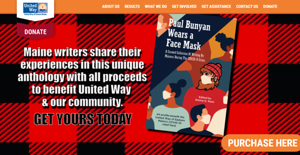 Screenshot of the United Way's home page featuring Paul Bunyan Wears a Face Mask
